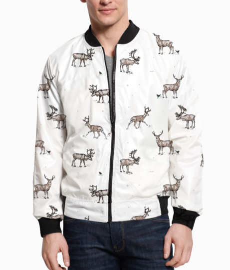 Conversational festive christmas reindeer stag country festive 01 bomber front
