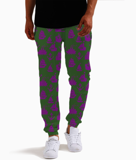 Purple sail boats joggers front