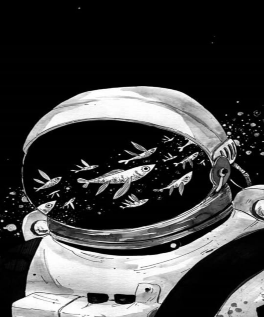 Astronaut and galactic fishes