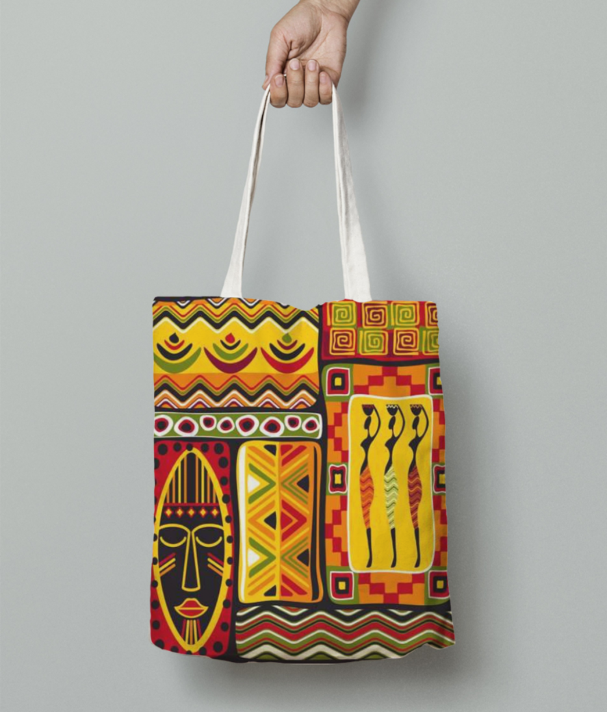 African pattern tote bag front