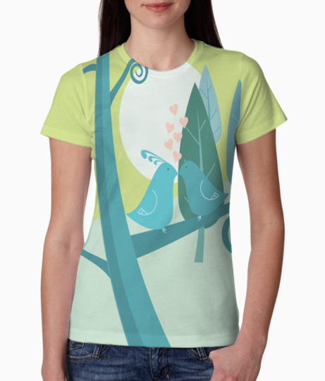 Birds on a tree tee front