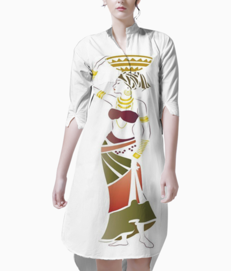 Woman with basket kurti front