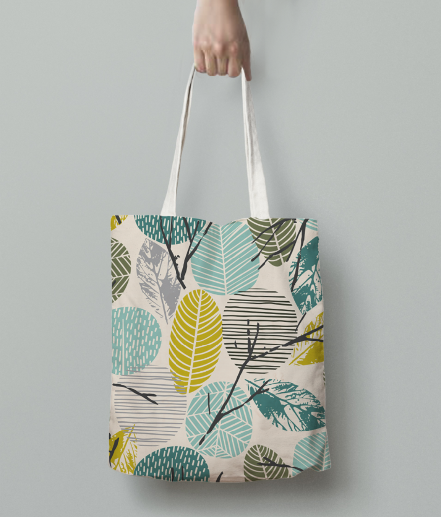 Abstract leaves tote bag back
