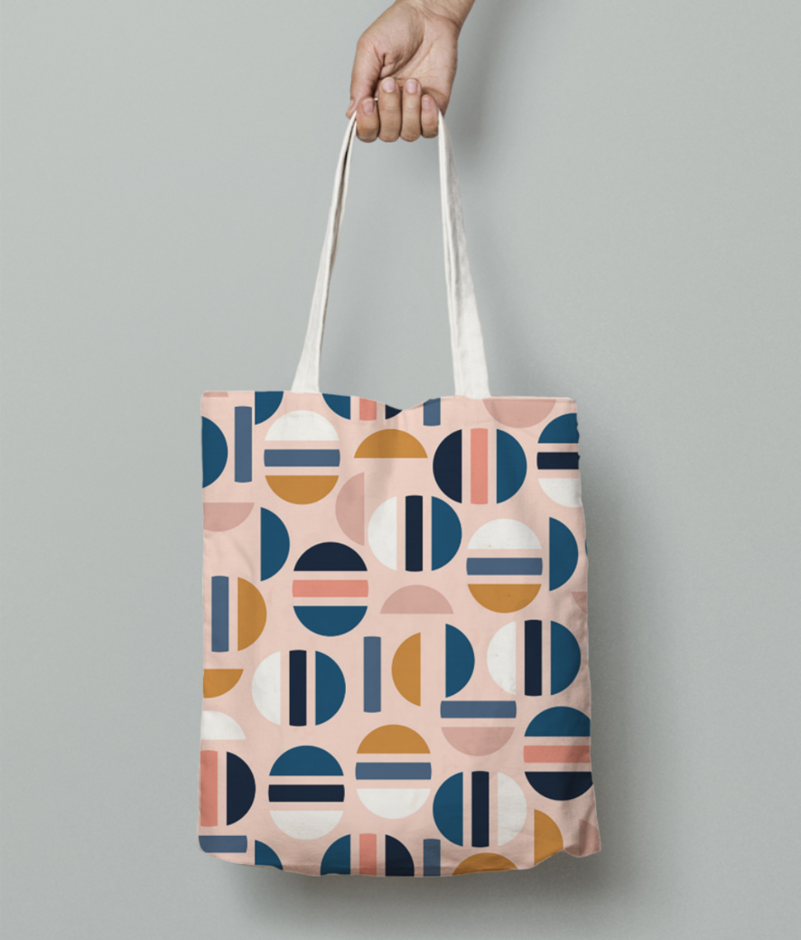 Modern geometric  tote bag front