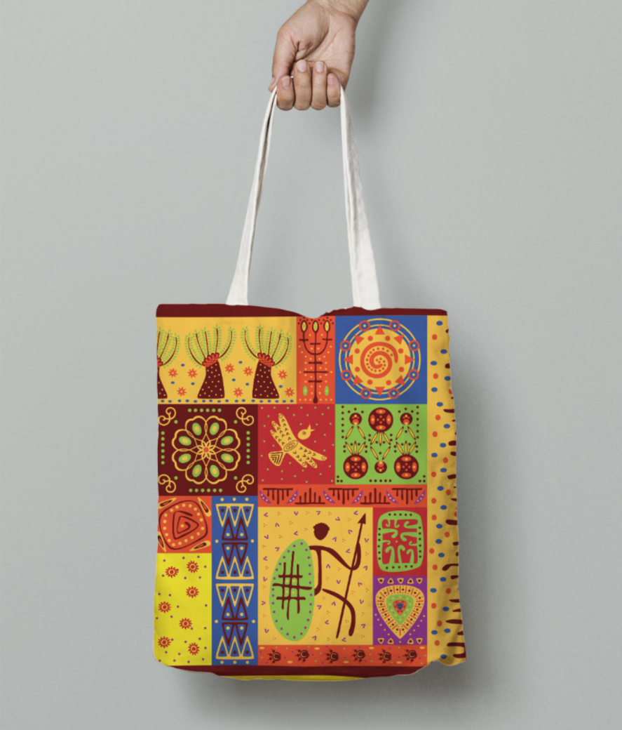 Tribal pattern tote bag front