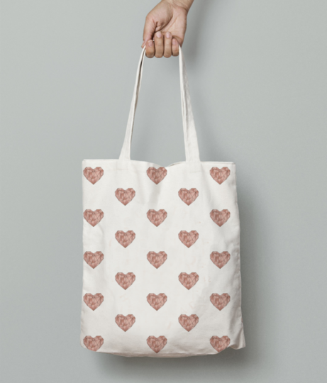 Origami heart placement tote bag front