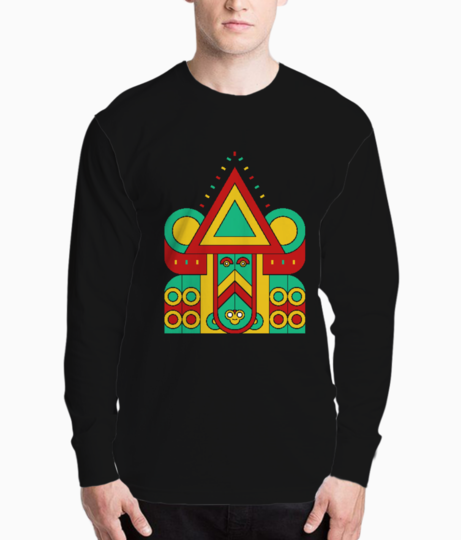 Colorful aztec tiki henley front