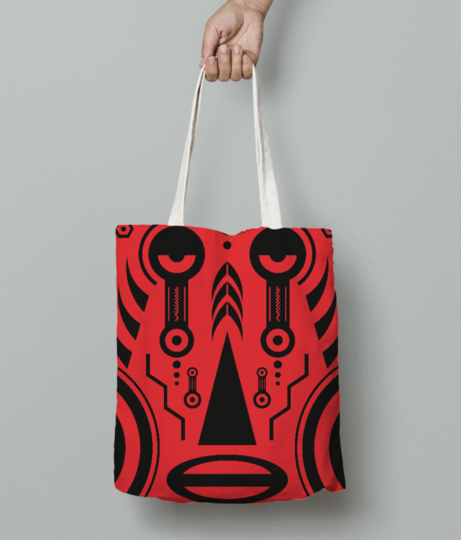 African tattoo red tote bag front