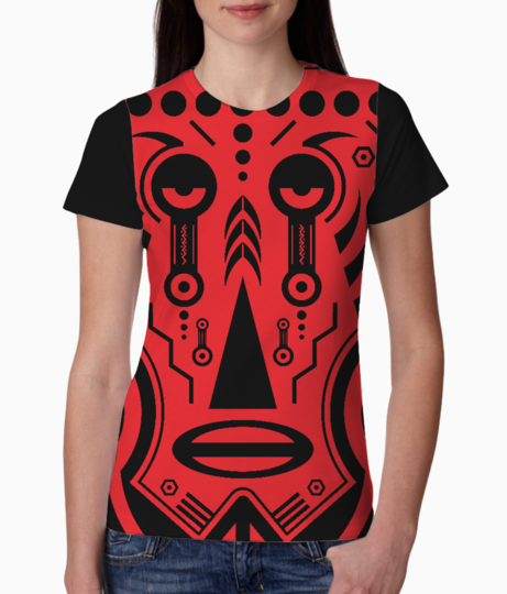 African tattoo red tee front