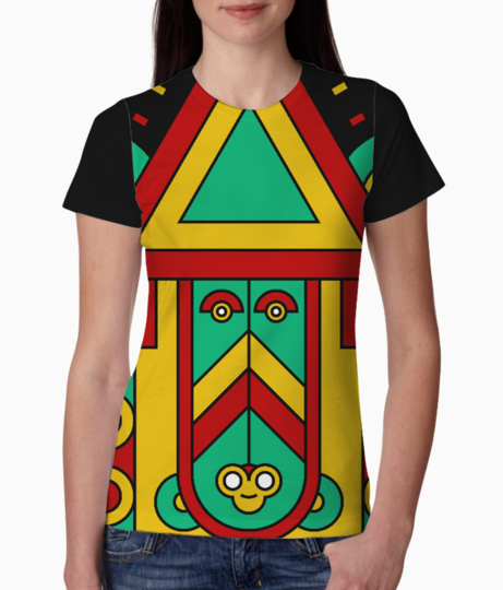 Colorful aztec tiki tee front