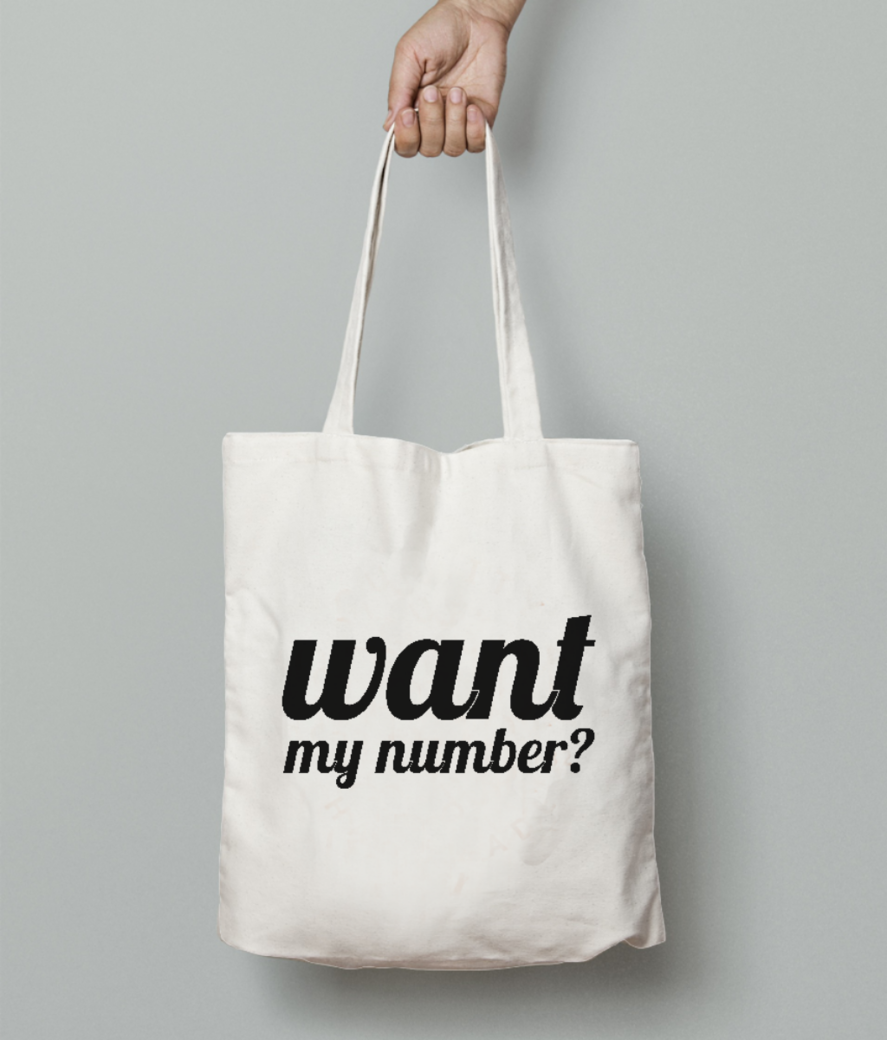 Want number tote bag front