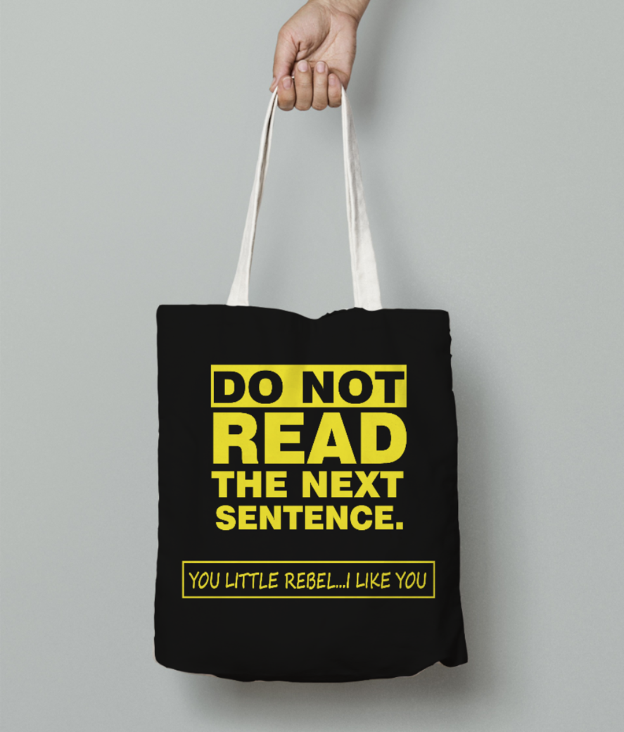 Sentence tote bag front
