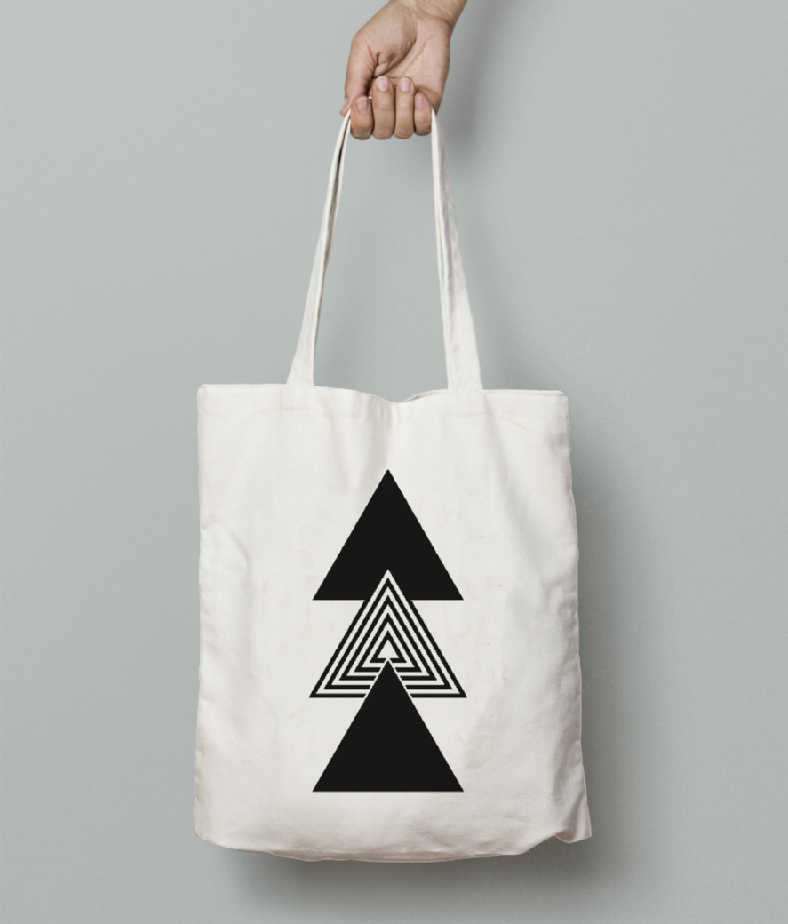 Abstract three triangles tote bag front