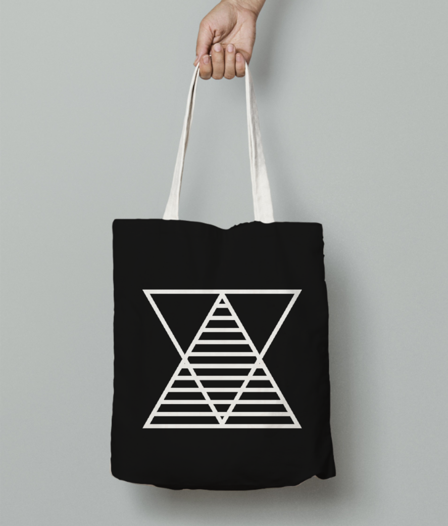 Border triangle double tote bag front