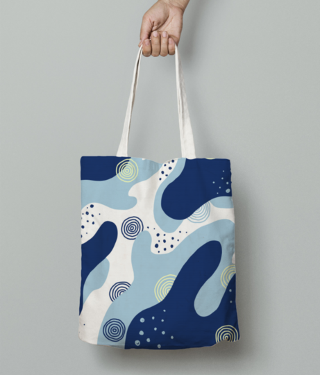 Hand draw creative abstract blue background 75906 41 tote bag front