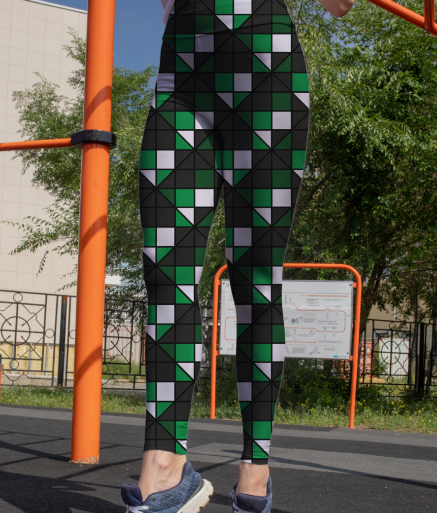Dark green diagonal leggings front