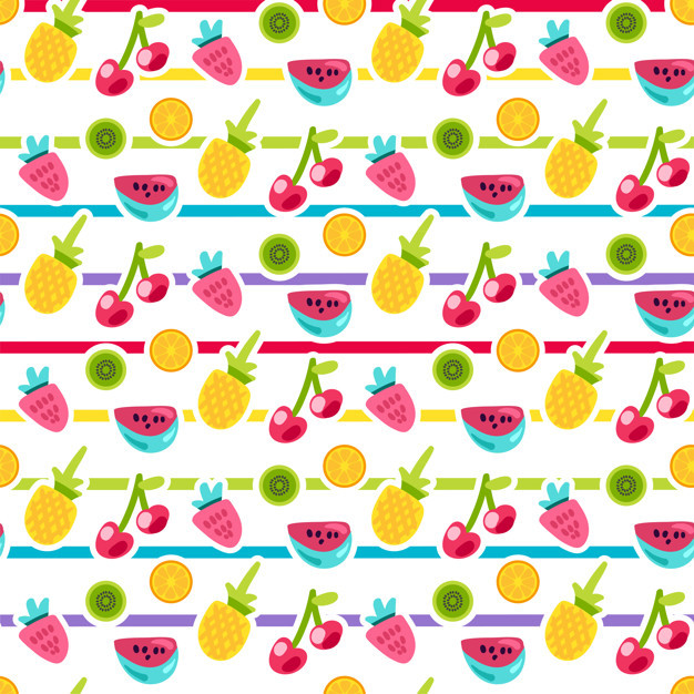 Cartoon fruits striped seamless vector pattern 71609 856