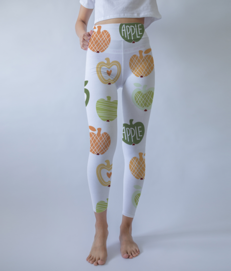 Vector seamless pattern with abstract cute apples 87506 393 leggings front