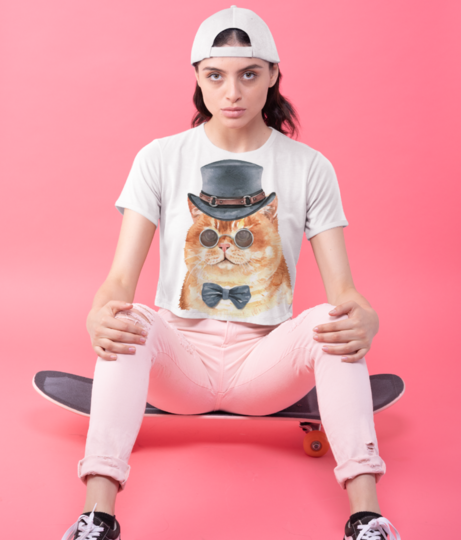 Cute watercolor cat with costume 71209 167 crop top front