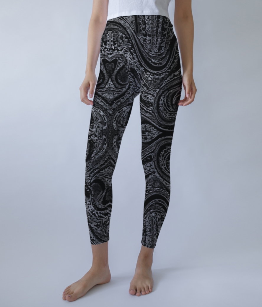 Abstract grey leggings front