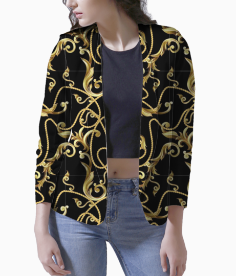 123674853 seamless pattern with golden baroque elements  blazer front
