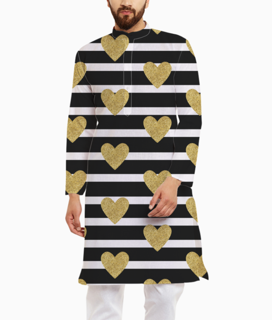 Black stripes with golden hearts kurta front