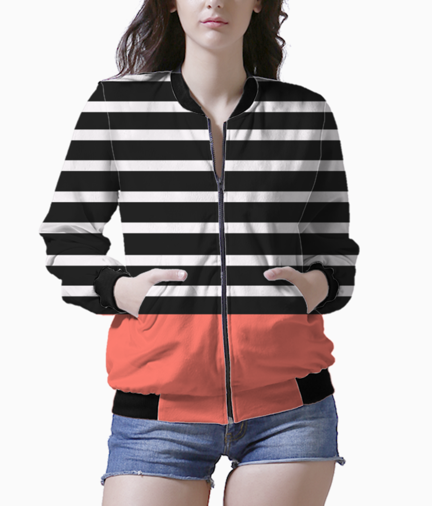 Black   white stripes with living coral patch bomber front