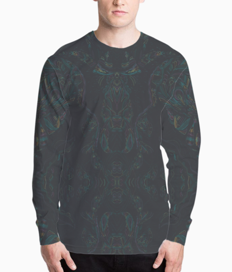 Abstract imprints henley front