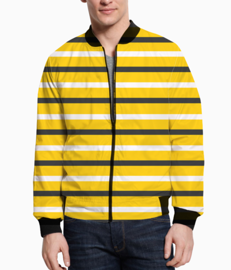 Yellow  stripes black and white bomber front