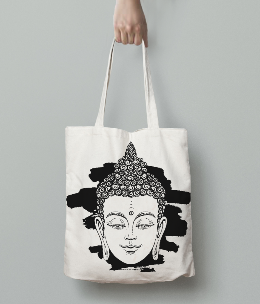 64043942 portrait of a buddha vector illustration on white background with a smear of ink black the esoteric  tote bag back