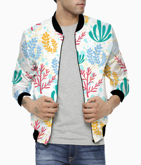 Coral print bomber front