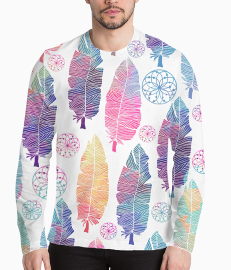 Feather pattern henley front