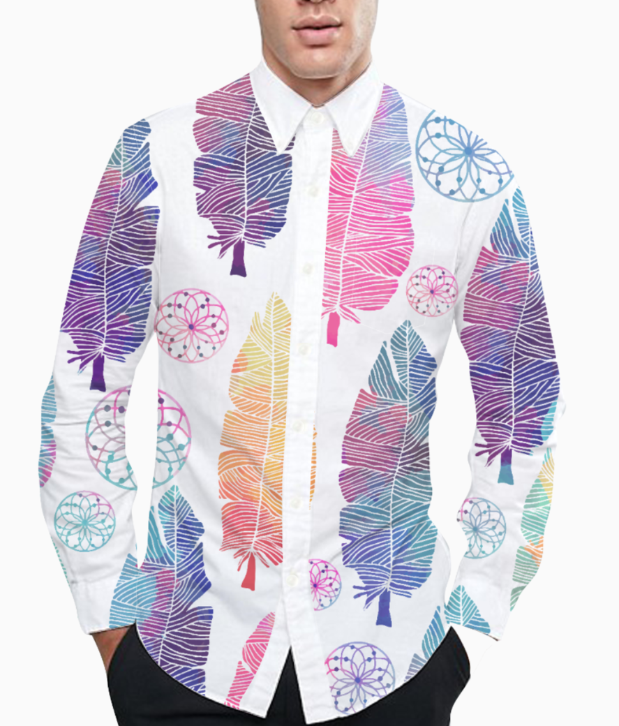 Feather pattern basic shirt front