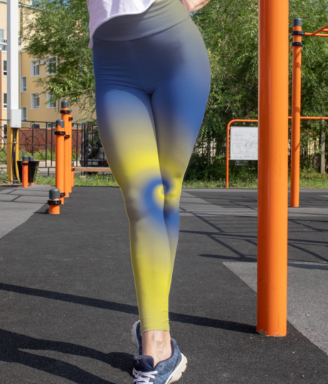 Abstract yellow   blue background leggings front