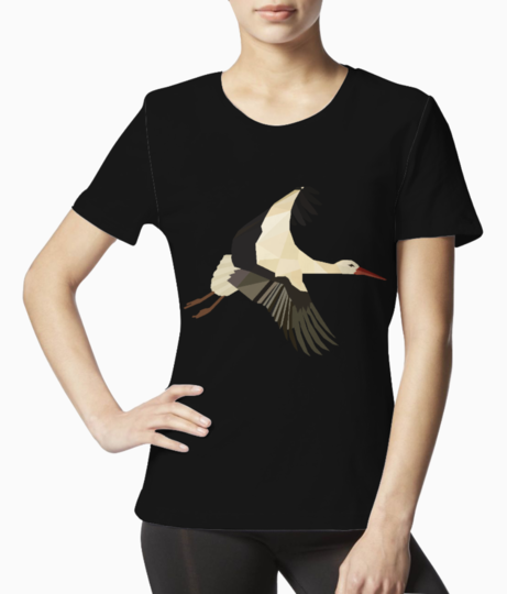 White strok bird low poly art 01 tee front