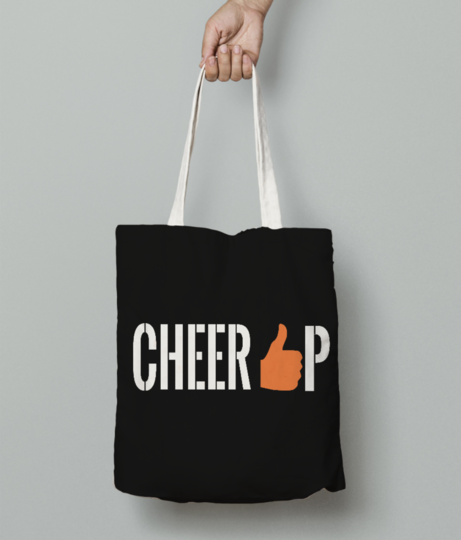 Cheer up  white tote bag front