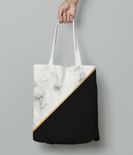 Abstract modern marble tote bag front