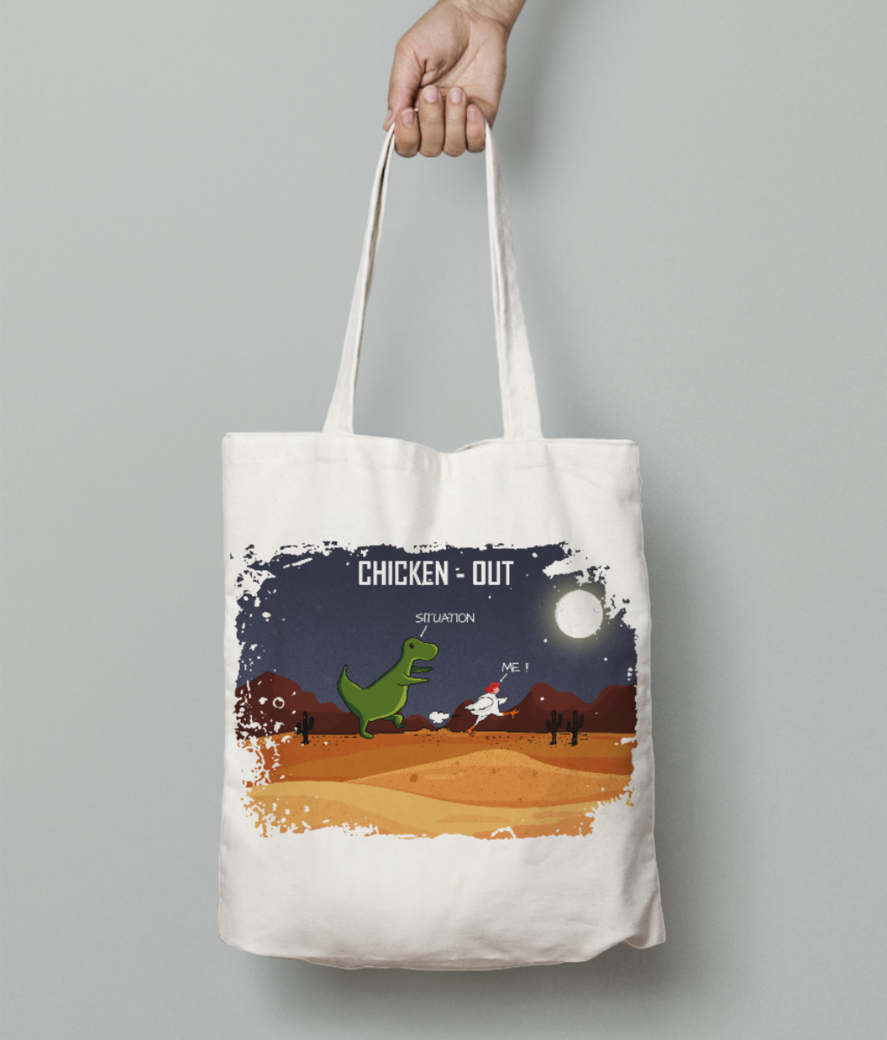 Chicken out 11 tote bag front
