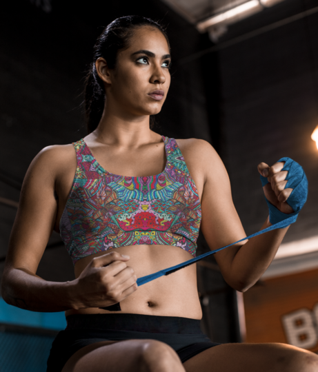 Abstract kaleidescope sports bra front