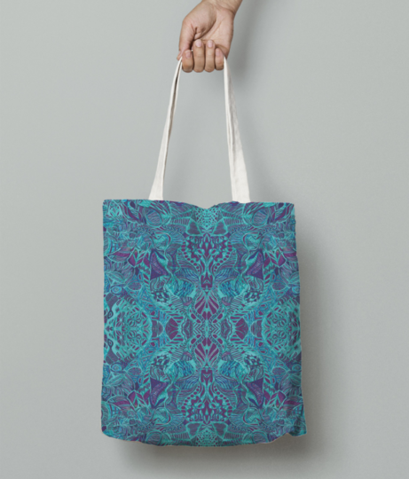 Blue blush tote bag front