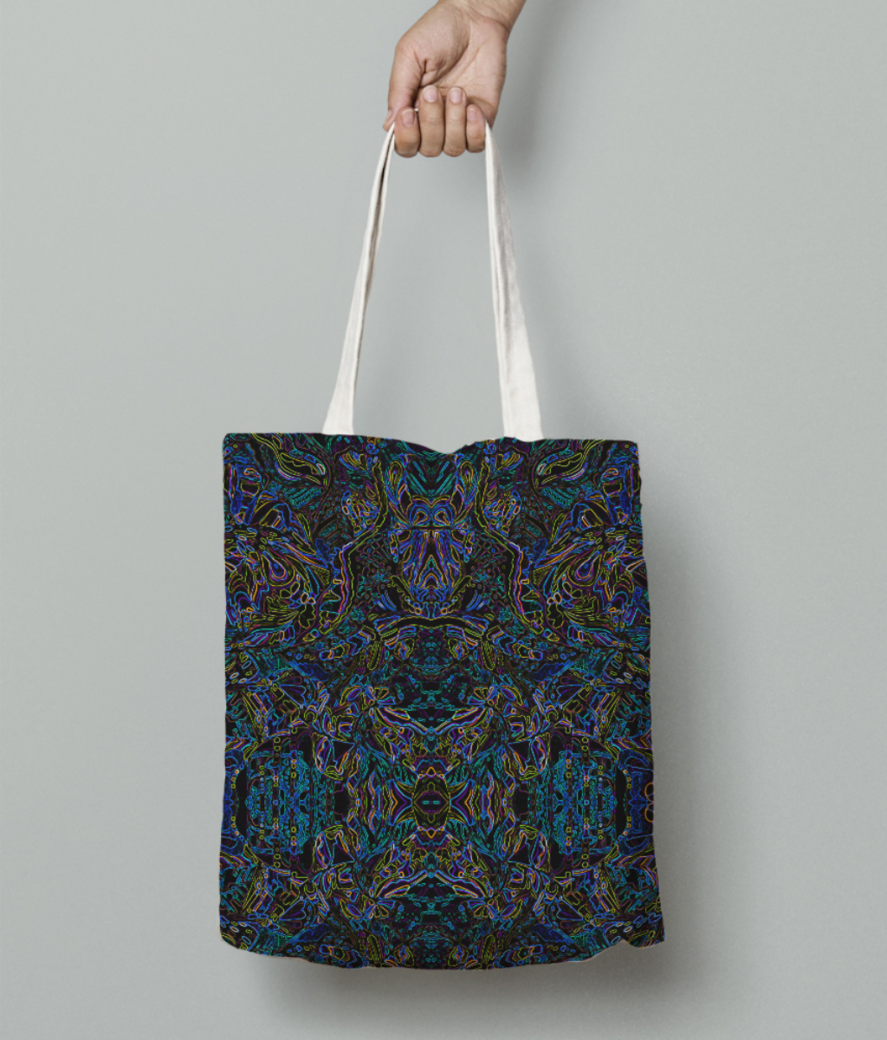 Abstract blue evolution tote bag front