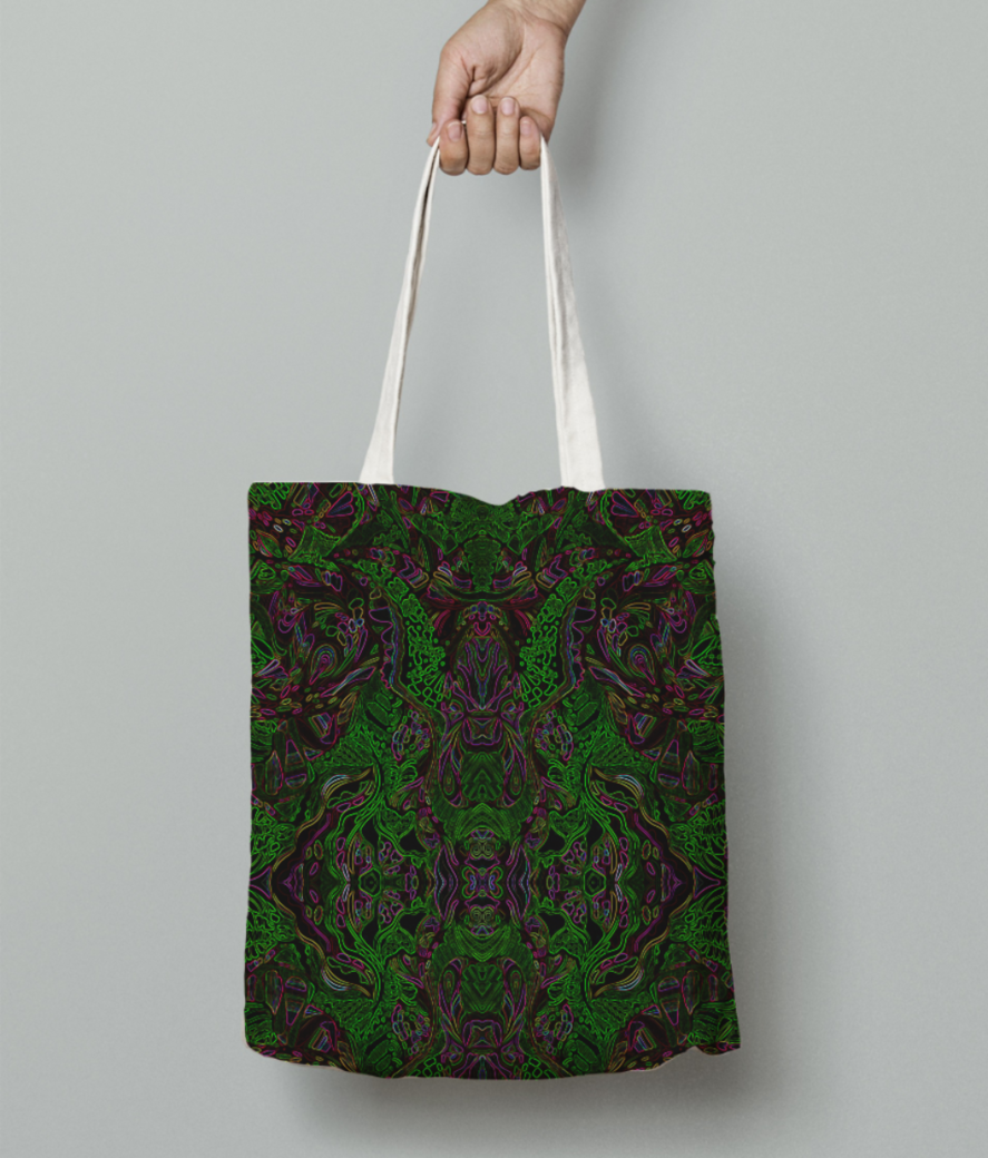 Abstract fire green tote bag front
