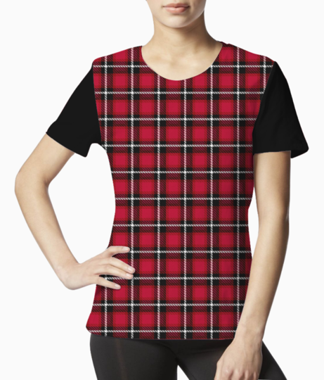 Red scottish tartan tee front