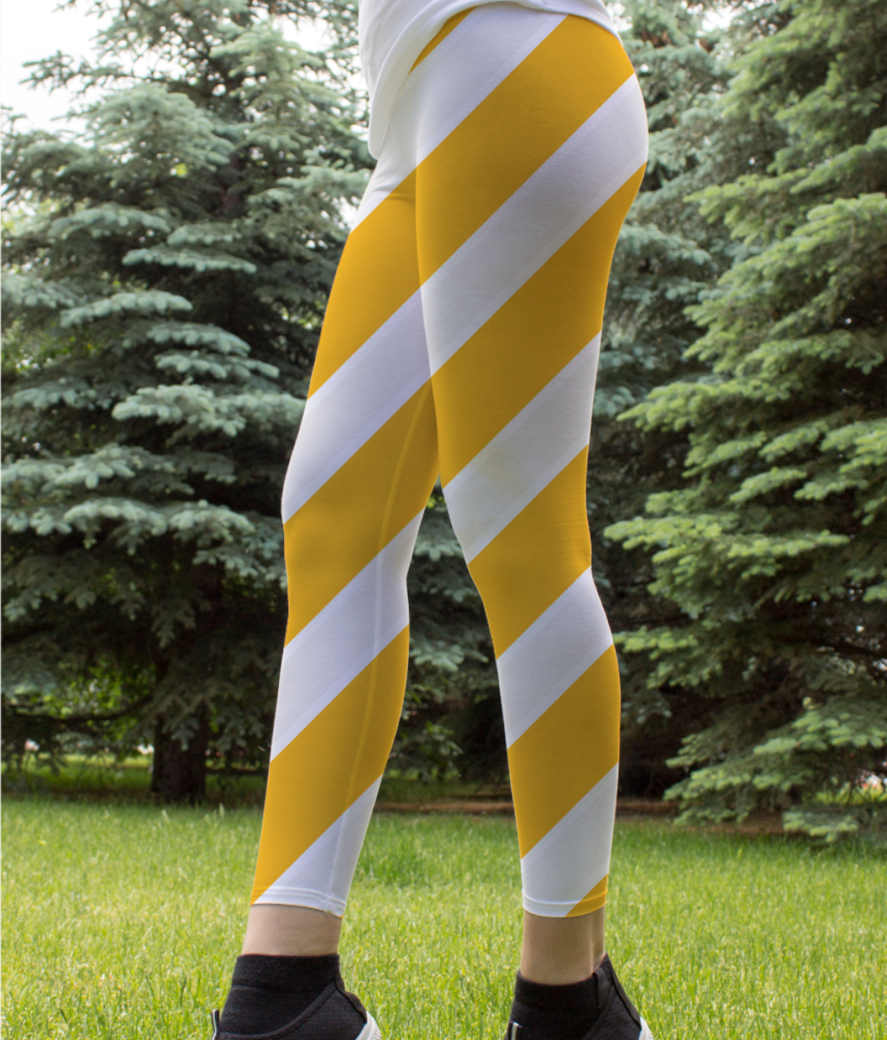 Yellow repeated stripes leggings front