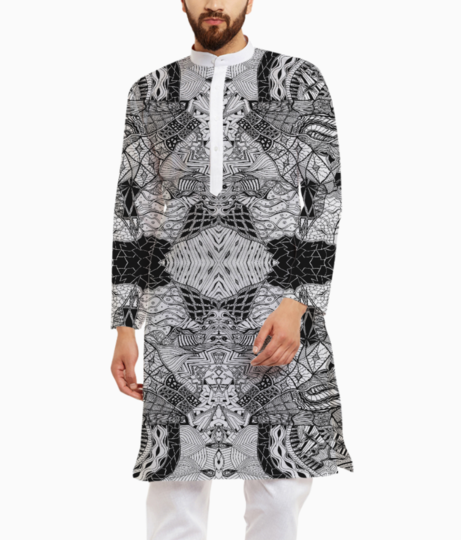 Abstract lines kurta front