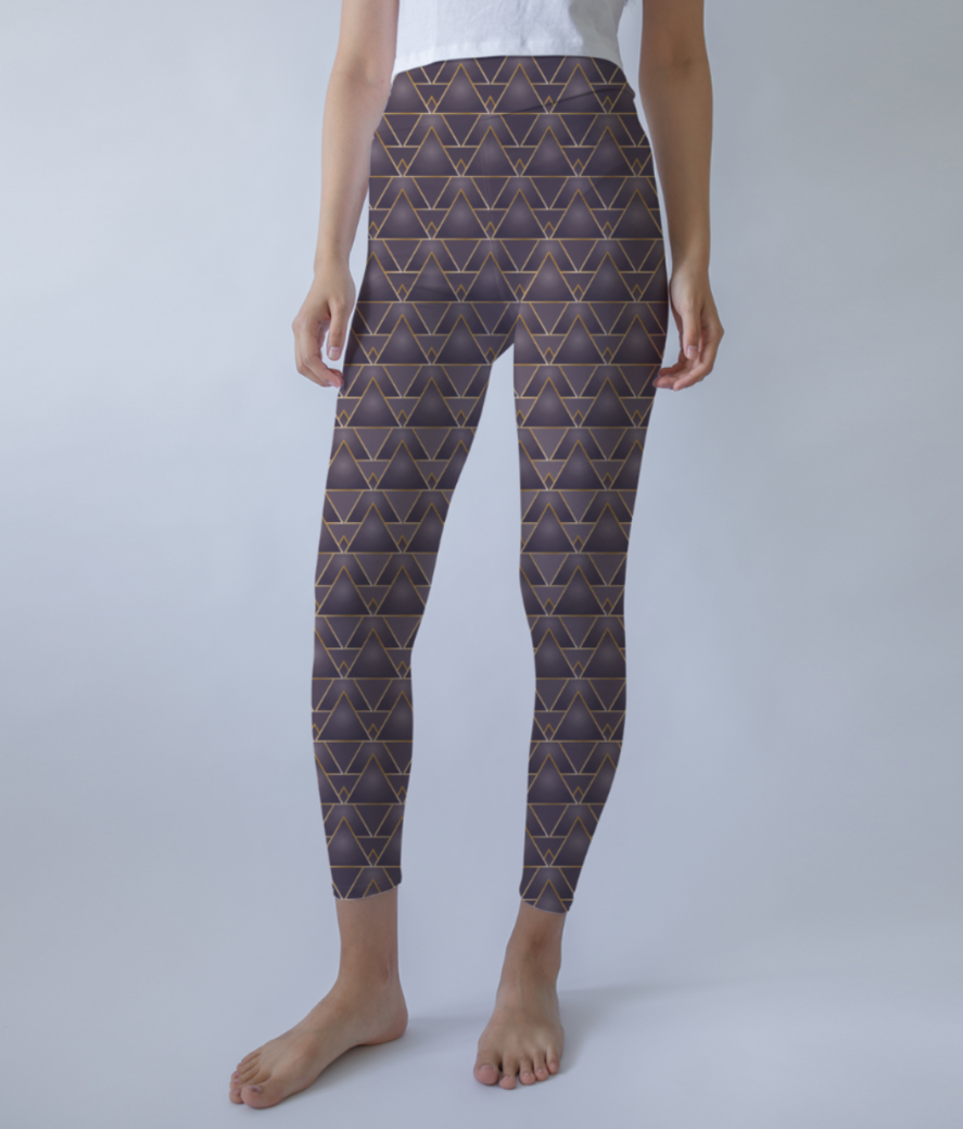 Elegant geometric art pattern leggings front