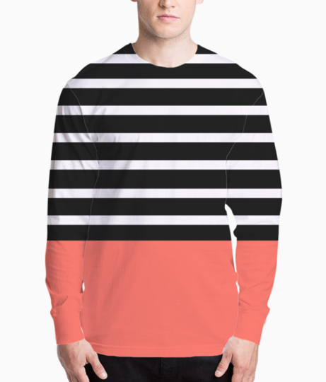 Black   white stripes with living coral patch henley front