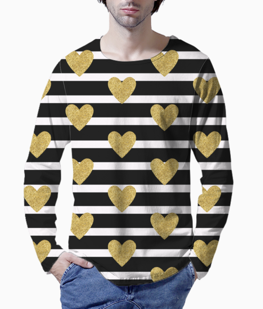 Black stripes with golden hearts henley front