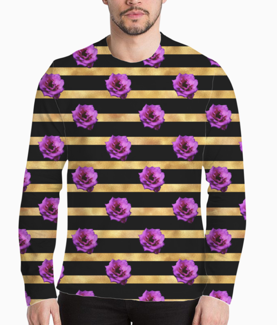 Floral royal glitter stripes henley front