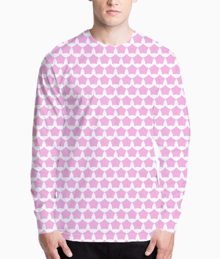 Abstract pink white seamless pattern background henley front